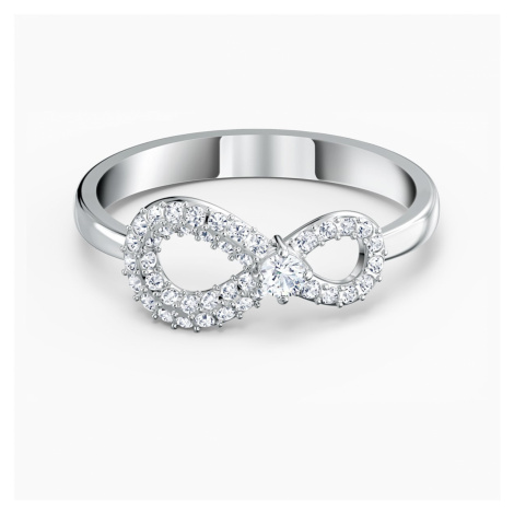 Swarovski Infinity Ring, White, Rhodium plated