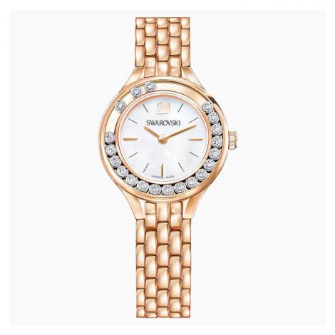 Lovely Crystals Watch, Metal bracelet, Rose-gold tone PVD Swarovski