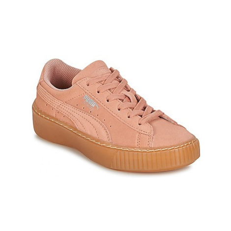 Puma SUEDE PLATFORM JEWEL PS girls's Children's Shoes (Trainers) in Pink