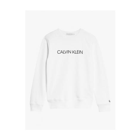 Calvin Klein Boys' Organic Cotton Institutional Logo Sweatshirt, Bright White