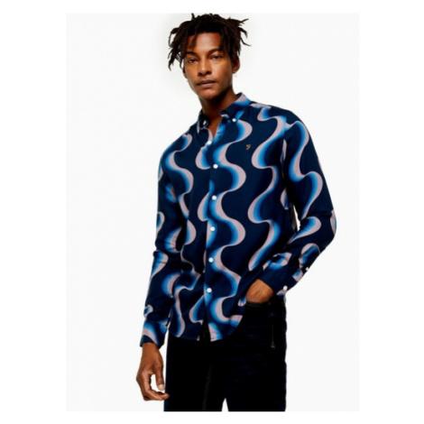 Mens Farah Blue Shearling Print Shirt*, Blue