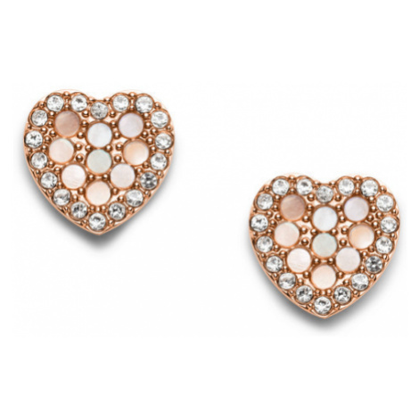 Fossil Women Mosaic Heart Rose Gold-Tone Stainless Steel Earrings - One size