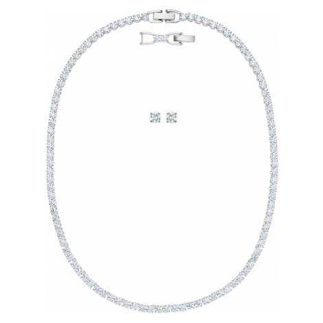 Tennis Deluxe Set, White, Rhodium plated Swarovski