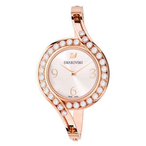 Lovely Crystals Bangle Watch, Metal bracelet, White, Rose-gold tone PVD Swarovski