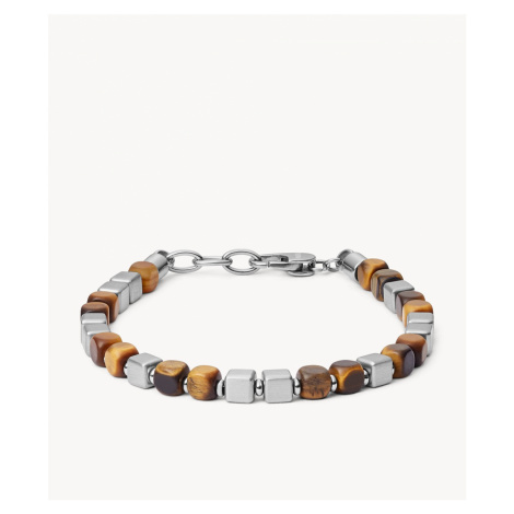 Fossil Men's Square Tiger's Eye and Stainless Steel Beaded Bracelet - Stainless Steel