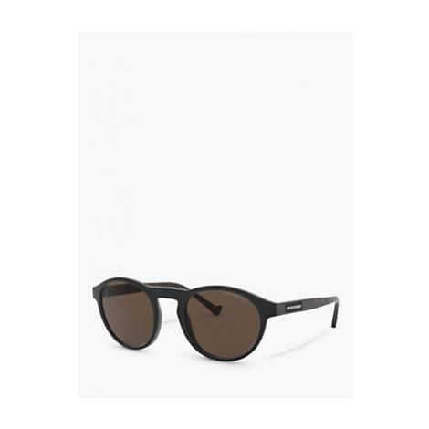 Emporio Armani EA4138 Men's Round Sunglasses, Matte Black/Brown