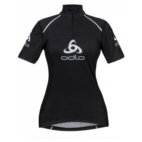 Odlo STAND-UP COLLAR S/S 1/2 ZIP ORIGINALS LIGHT LOGOLINE black - Women's functional T-shirt