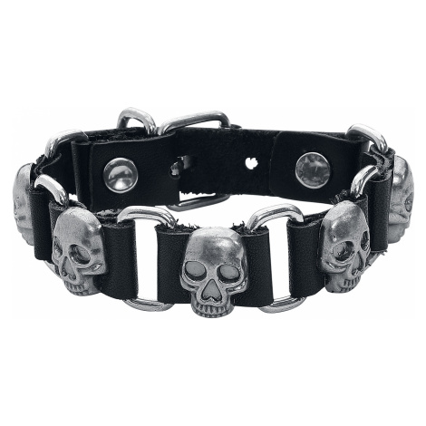 Skull - - Leather bracelet - black-silver colours