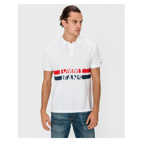 Tommy Jeans Block Stripe Polo T-shirt White Tommy Hilfiger