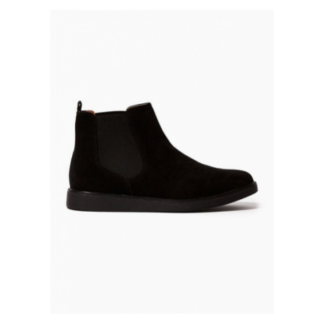 Mens Black Suede Chant Chelsea Boots, Black Topman