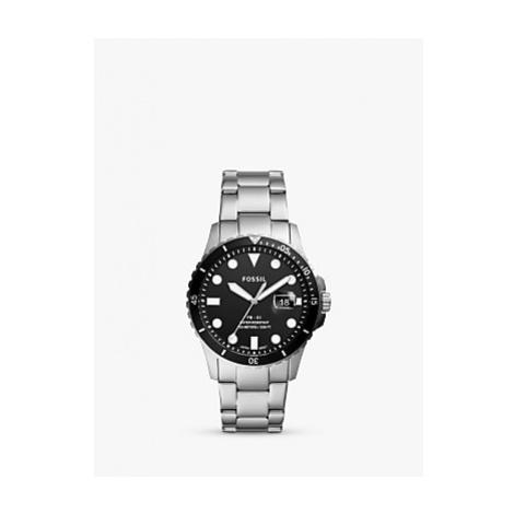 Fossil Men's FB01 Date Bracelet Strap Watch, Silver/Black FS5652