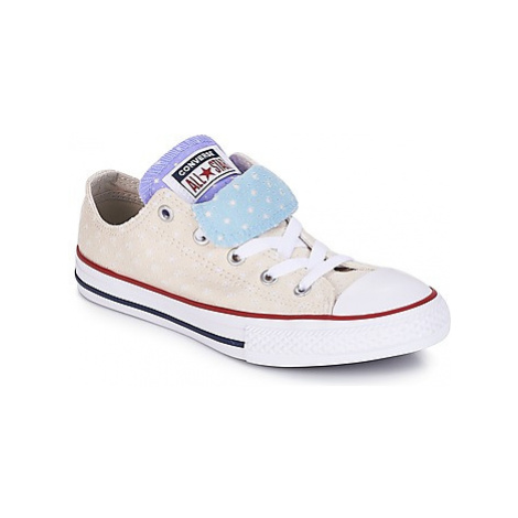Converse Chuck Taylor All Star Double Tongue-Ox girls's Children's Shoes (Trainers) in Beige