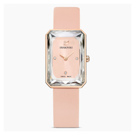 Uptown Watch, Leather strap, Pink, Rose-gold tone PVD Swarovski
