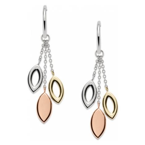Fossil Women Tri-Tone Navette Drop Earrings Gold/Silver - One size