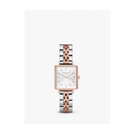 ROSEFIELD QMWSSR-Q024 Women's The Boxy Date Bracelet Strap Watch, Silver/Rose Gold
