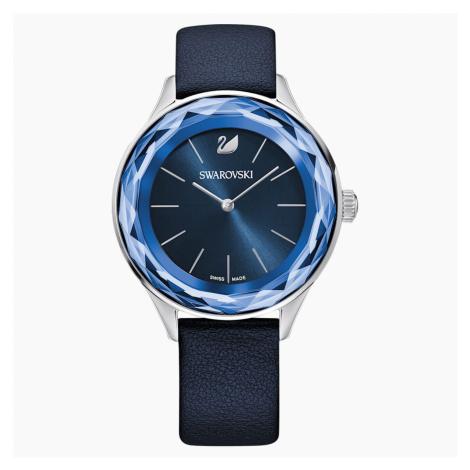 Octea Nova Watch, Leather strap, Blue, Stainless steel Swarovski