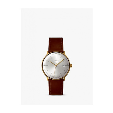 Junghans 027/7700.00 Men's Max Bill Automatic Leather Strap Watch, Camel/Silver