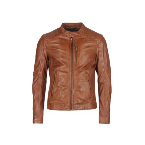 Brown men's leather and faux leather jackets