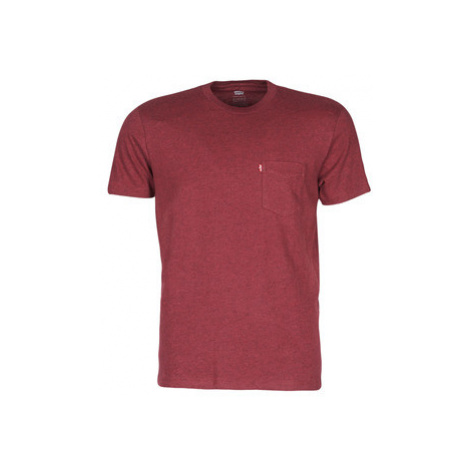Levis SS SET-IN SUNSET POCKET men's T shirt in Red Levi´s