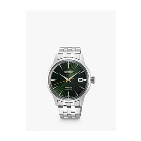 Seiko SRPE15JI Men's Presage Cocktail Automatic Date Bracelet Strap Watch, Silver/Green