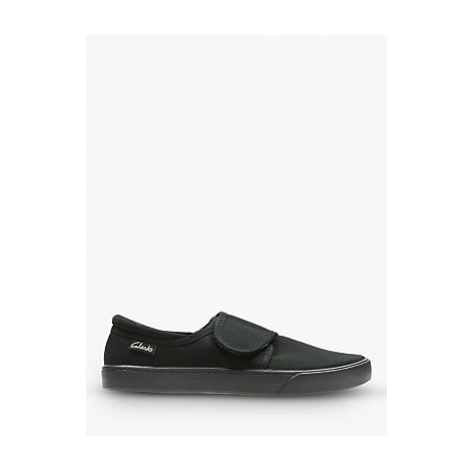 Clarks Children's Hopper Run Riptape Plimsolls, Black