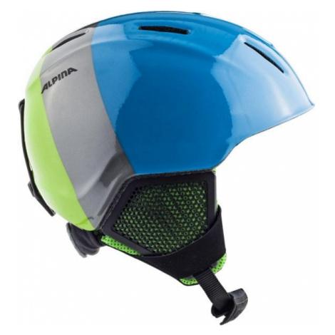 Blue ski helmets