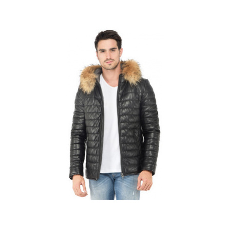 Oakwood Quilted leather jacket pockets on the front long sleeves men's Jacket in Black