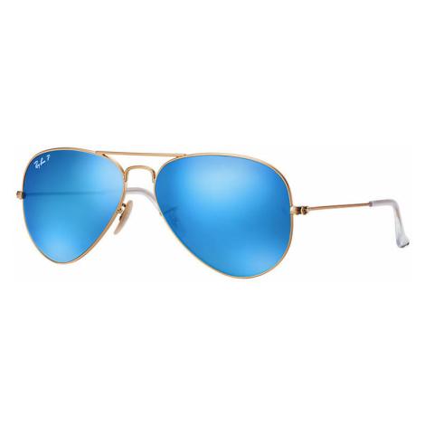 Ray-Ban Aviator flash lenses Unisex Sunglasses Lenses: Blue Polarized, Frame: Gold - RB3025 112/