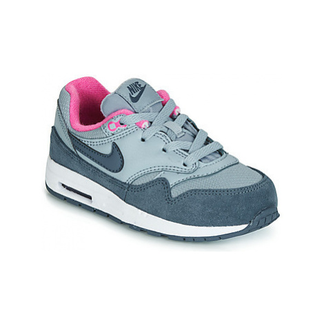 Nike AIR MAX 1 TODDLER girls's Children's Shoes (Trainers) in Grey