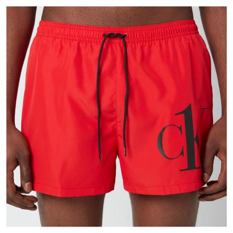 Calvin Klein Men's CK Logo Drawstring Swim Shorts - Fierce Red