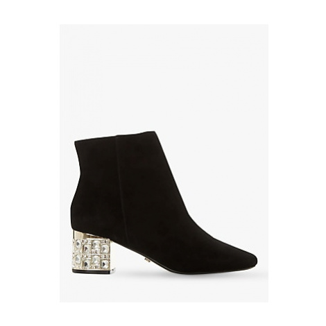 Dune Orriana Suede Jewelled Heeled Ankle Boots, Black
