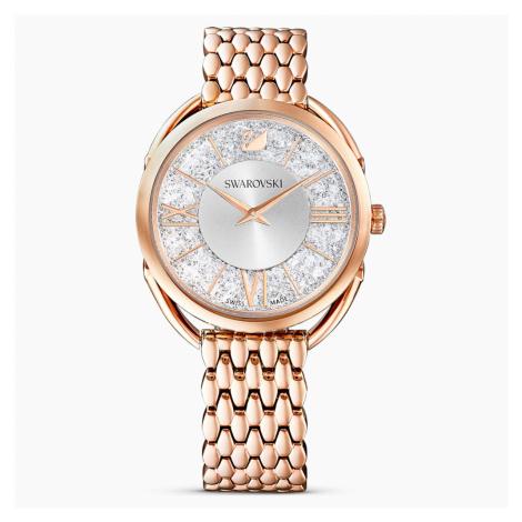 Crystalline Glam Watch, Metal bracelet, White, Rose-gold tone PVD Swarovski