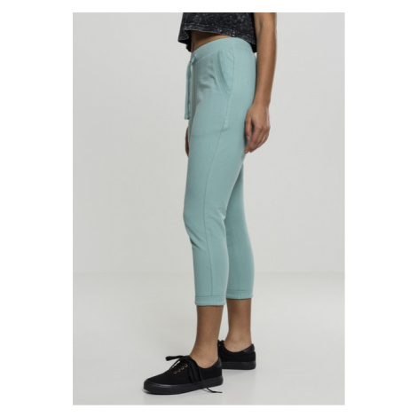 Urban Classics Ladies Open Edge Terry Turn Up Pants bluemint