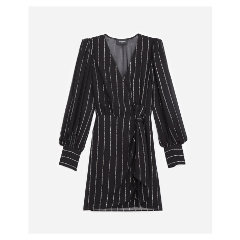 The Kooples - Black wrap dress with silver stripes - WOMEN