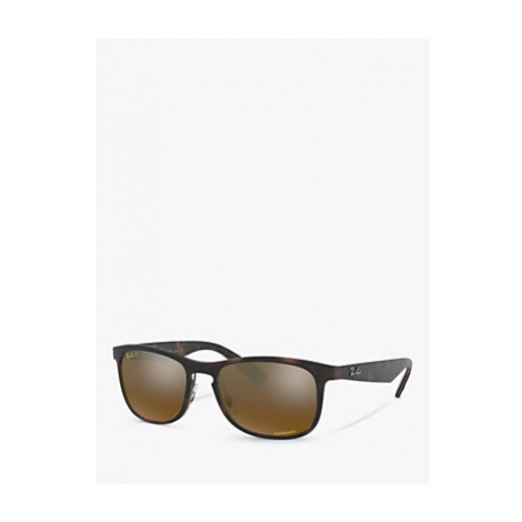 Ray-Ban RB4263 Men's Polarised D-Frame Sunglasses, Matte Tortoise/Mirror Bronze