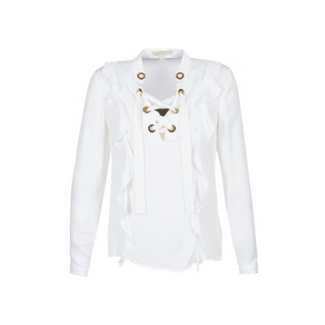 MICHAEL Michael Kors RUFFLE LACE UP TOP women's Blouse in White