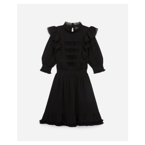 The Kooples - Short black dress w/crew neck & dotted Swiss - WOMEN
