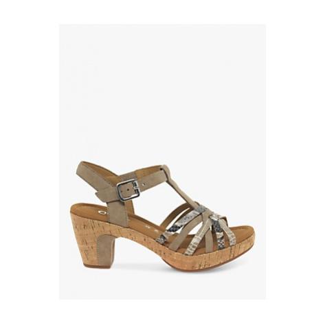 Gabor Cheri Leather Wide Fit Ankle Strap Sandals, Snake/Beige