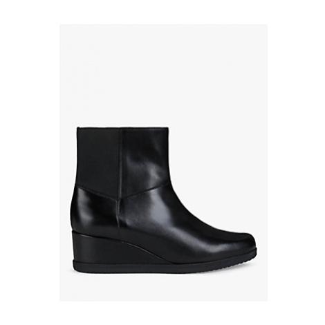 Geox Women's Anylla Leather Wedge Heel Boots, Black