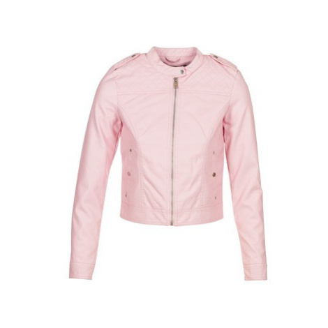 Pink women's leather and faux leather jackets