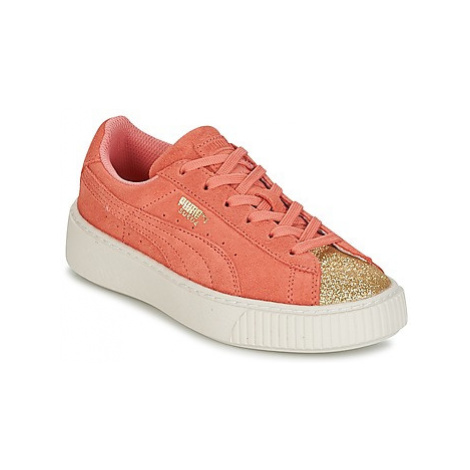 Puma SUEDE PLATFORM GLAM PS girls's Children's Shoes (Trainers) in Pink