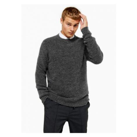 Mens Grey Raglan Knitted Jumper, Grey Topman