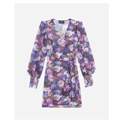 The Kooples - Printed wrap dress with violet motif - WOMEN