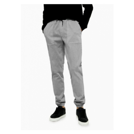 Mens Light Grey Cuffed Joggers, Grey Topman