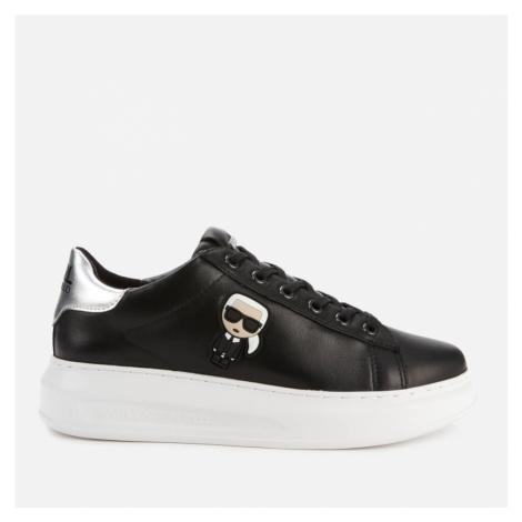 Karl Lagerfeld Women's Kapri Karl Ikonic Lo Lace Leather Flatform Trainers - Black - UK