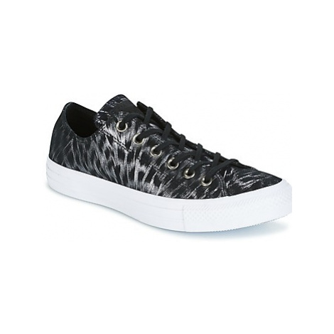Converse CHUCK TAYLOR ALL STAR SHIMMER SUEDE OX BLACK/BLACK/WHITE women's Shoes (Trainers) in Bl
