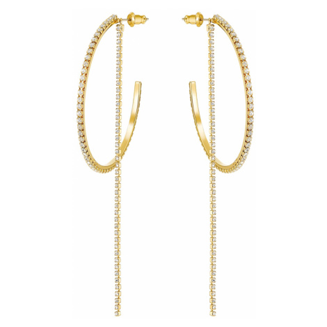 Fit Hoop Pierced Earrings, White, Gold-tone plated Swarovski