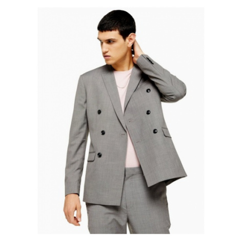Mens Grey Marl Skinny Fit Double Breasted Suit Blazer With Peak Lapels, Grey Topman