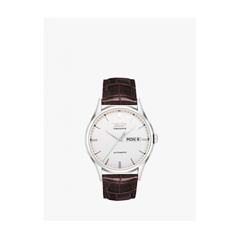 Tissot T0194301603101 Men's Visodate Automatic Day Date Leather Strap Watch, Brown/White