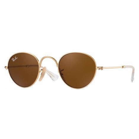 Ray-Ban Round junior Unisex Sunglasses Lenses: Brown, Frame: Gold - RJ9537S 223/3 40-21